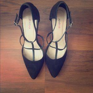 Black Suede Strappy JustFab Stilettos